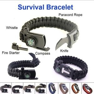 NEW! OUTDOOR CAMPING RESCUE PARACORD BRACELET